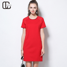 Buy Summer Women's Lace Patchwork Diamonds Red Black Elegant Party Evening Short Sleeve Female Plus Size Casual Dresses 2018 Clothes for $33.15 in AliExpress store