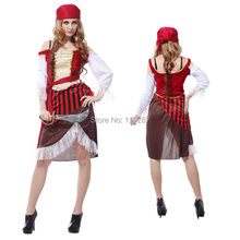 New pirate female temptation sexy costumes dress Sexy model women pirate costume Halloween costumes dress for 155-170cm(China)