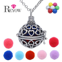 Chime Ball Angel Caller Pendant Hollow Heart Locket Necklace Aromatherapy Essential Oil Fragrance Diffuser Charms Jewelry