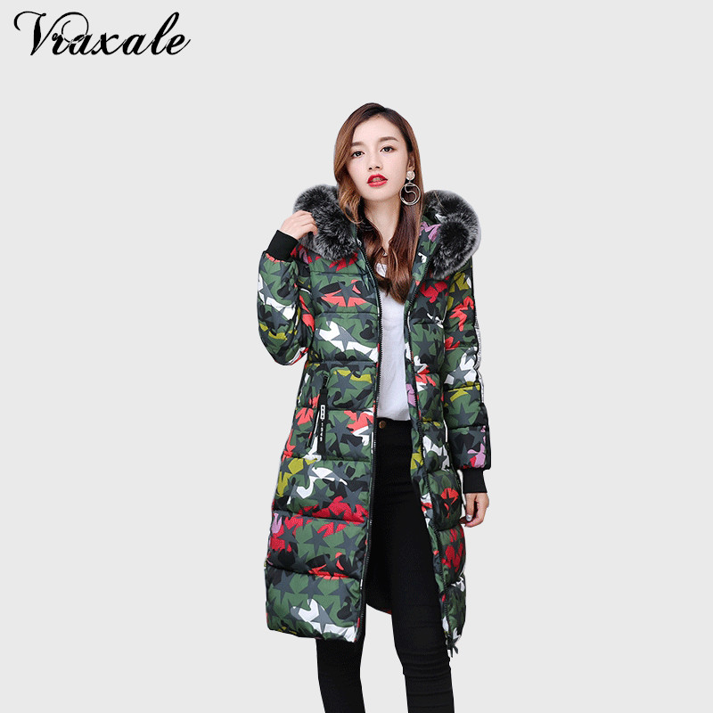 Vraxale Winter Camouflage printing Down Cotton Coat Ladies Big Fur Collar Hooded Long Coat Cotton Thick Warm Jacket ParkasÎäåæäà è àêñåññóàðû<br><br>