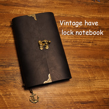 Daily with lock notebooks geniune leather notebook traveler journal filler planner kraft paper school supplies Vintage notebook