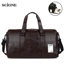 db5a4f3aad9174 Leather Gym Bag Fitness Sports Bags Handbags For Men Women Training  Shoulder Shoes compartment Traveling Sac