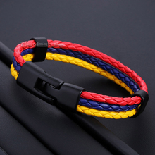 Davieslee 12mm Colombian Flag 3 Strand Manmade Leather Charm Rope Braided Surfer Men Women Bracelet Friendship DLLB663