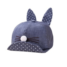 Popular Cute Newborn Toddler Girl Boy Rabbit Ear Cat Baby Hat Kids Cat Caps Printed Dots Breathe Freely  Cap