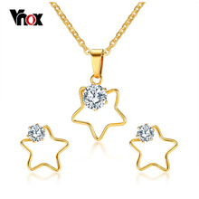 Vnox Five Stars Necklace and Earrings Jewelry Sets for Women Fashion CZ Stone Jewelry Sets Meaningful Anniversary Gift