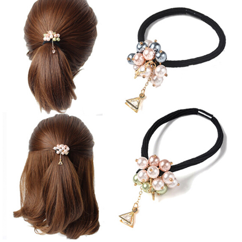2Pcs Fashion Lady Women Beads Hair Band Rope Scrunchie Ponytail Hol aazz