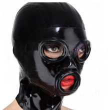 Buy 2017 New Bodystocking Sexy Lingerie Bodysuit Latex Mask Hoods Fetish black Women unisex Hoods Crimping side Mouth eyes side Plus