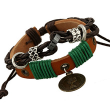 Hot selling alloy fine jewelry punk leather fashion bracelet beaded popular jewelry female avatar man and woman personality