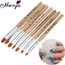 7 Size Nail Art Round Top Paint Brush Set Acrylic Gel Polish Builder Extension Coating 3D Daisy Rose Flower Petal DIY Draw Pen
