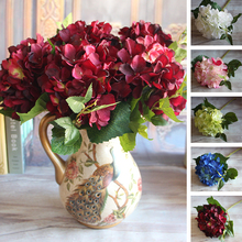 Wine Red Floral 1 Bouquet Artificial Peony Flower Arrangement Room Hydrangea Wedding Decor Party DIY