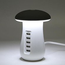 USB Charging Station with Mushroom LED Desk Lamp 3.0 quick charge Fast Charging for iPhone 8/7/6 Plus iPad iPod Google Pixel Sam(China)