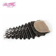 [Berrys Fashion] Deep Wave Silk Base Closure 4x4 Human Hair Extensions Brazilian Deep Curly Remy Hair Closure with Baby Hair