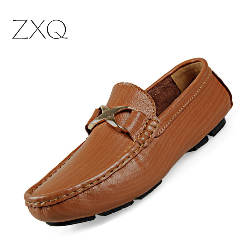 2016 Handmade Genuine Leather Men Flat Brand Fashion Leather Men Shoes Slip On Male Moccasin Driving Shoes<br>