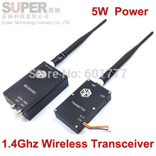 5W 1.4G transceiver for cctv cam 1400mhz frequency 1.4G Video Audio Transmitter Receiver,1.4G FPV transmitter CCTV transmitter