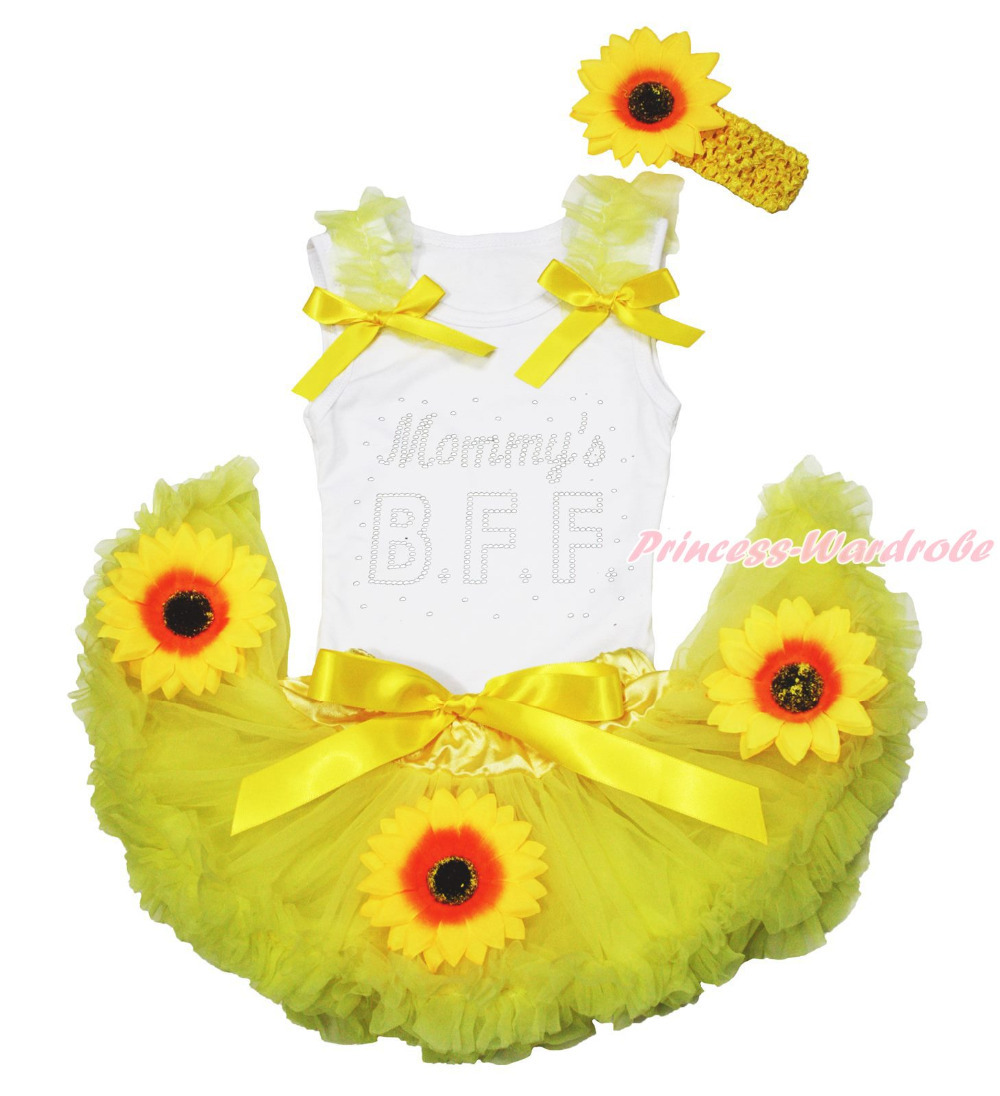 Mothers Day Mommys BFF White Top Summer Yellow Sunflower Baby Pettiskirt 3-12M MAPSA0725<br>