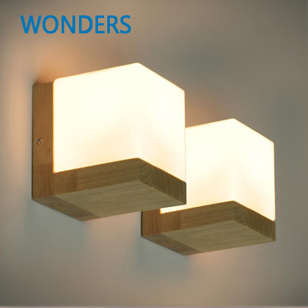Modern Minimalist Wall Lamp Nordic Style oak Wood glass 90-260V E27 Holder Bedroom Restaurant  lamp<br>