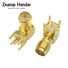 10Pcs Gold RP SMA Male Adapter PCB Mount RP-SMA Male Pin Jack Right Angle RF Coaxial RP-SMA-KWE Connector(China)