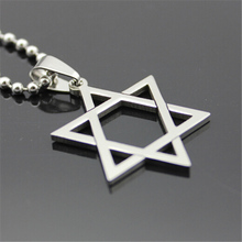 Hexagram Pendant Necklaces Women Stainless Steel Ball Chain Silver Jewelry Accessories Men Magen David Star Charm Choker