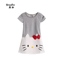 HOT 2016 New High Quality Female Children's Wear The Dress With Short Sleeves Printed Embroidered Cotton Fleece Cartoon Cat 3-7T