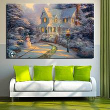 Snow snowman lamp house Landscape Mediterranean Oil painting Spray Unframed Frameless Canvas airbrush wine
