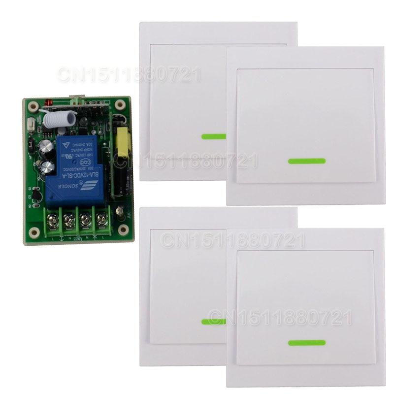 AC85V- 250V 110V 220V 3000W RF Wireless Remote Control Switch System For Smart Home Light With 4PCS Wall Transmitter<br>