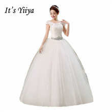 Buy It's Yiiya 2017 O-neck Lace Short Sleeves Sequins Waist Wedding Dresses White Cheap Floor Length Dress Vestidos De Novia HS138 for $34.20 in AliExpress store