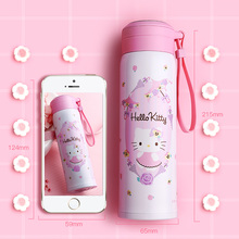Hello Kitty KT-3748 Thermos Bottle Mugs stainless steel Vacuum Cup Coffee Mug with Rope Girls Drinking Cup Water Bottle kettle