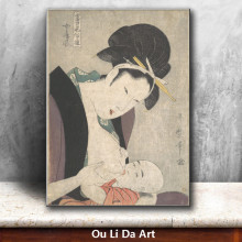 classical Japan kimono Mother nursed baby oil painting canvas painting printings printed on canvas wall art decoration picture
