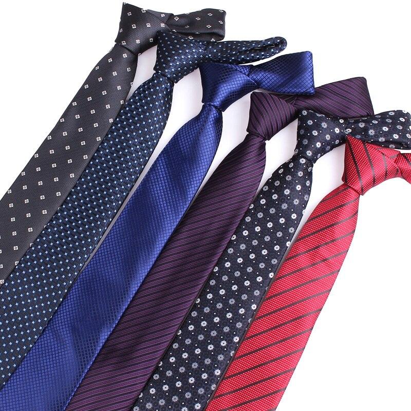7CM Mens Ties Polyester Silk Blue Striped Wedding Party Tie Man Necktie Woven