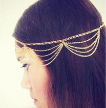 ts167 2016 Fashion Beautiful Gold Multilayer Tassel Chain Head Pieces Women Headpiece Headband Hair Head Wrap Jewelry