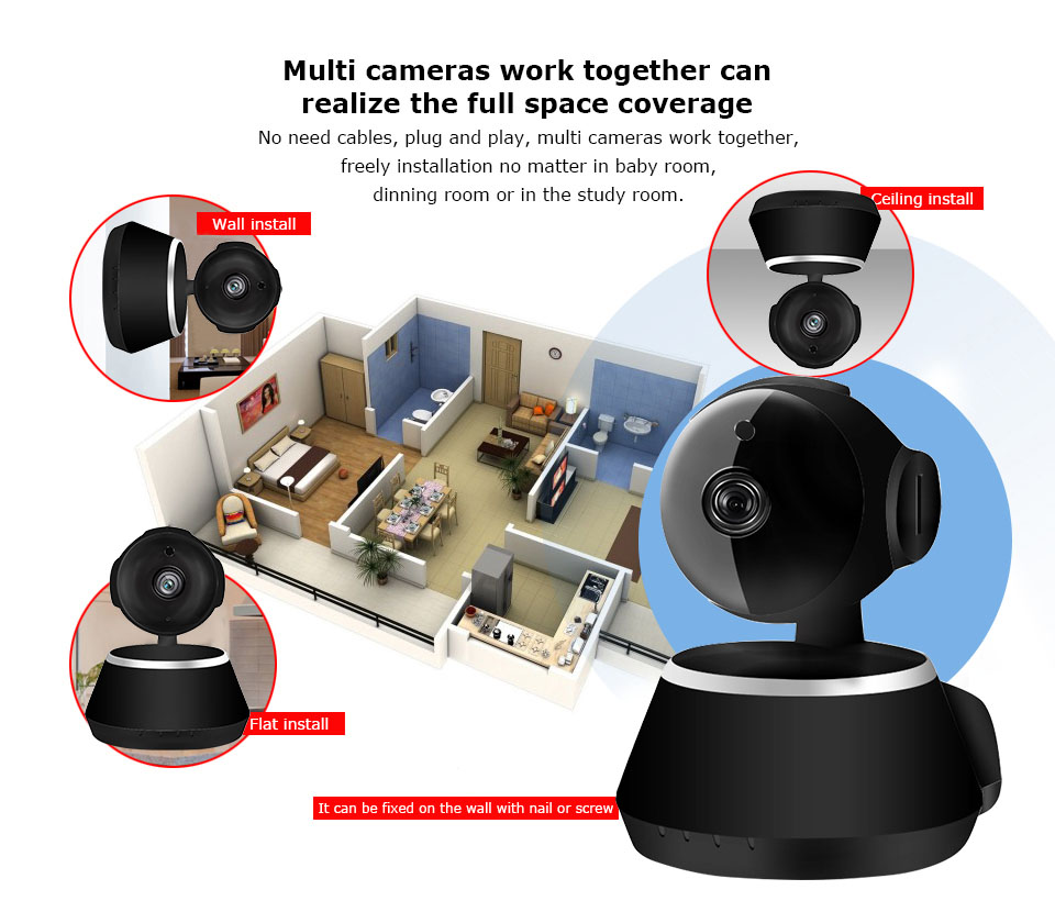 IP Camera Wifi 1080P Security Camera 720P Mini IP Camera Home CCTV Cameras P2P Two Way Audio Motion Detection IR-CUT  (13)