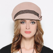 2017 Autumn Winter Beret Hat For Women Wool Beret Hats With Bowknot Decoration Elegant Black Red Royal Blue Pink French Painter