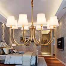 Modern Full Bronze Copper Chandelier for Bedroom Kitchen Living Room Fabric Lampshade Ceiling Home Lighting(China)