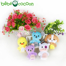 bebecocoon Random 5pcs Cartoon Animals Finger Puppets Plush Toys Dolls Boys Girls Gifts Birthday Baby Biological Finger Puppets(China)