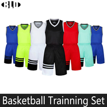 Men Basketball Jersey Set Breathable Solid V-collor Sleeveless Shirts & Sport Short Usa Basketball Jersey Team Game Sport Sets
