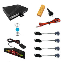 Car Wireless Parking Sensor With 4 Sensors Backup Radar Black Silver Blue Gray Wihte Red Gold Yellow Orange Green Color