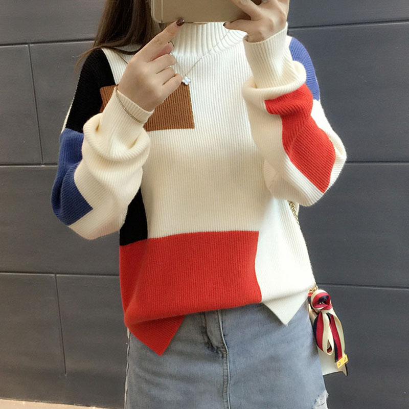 Women semi-high collar sweater Korean style 2019 autumn and winter pullover loose color block long-sleeve female knitted tops