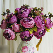 1 Bouquet 13 Heads Vintage Artificial Peony Silk Flower Peony Flower Wedding Home Decorative Flower(China)