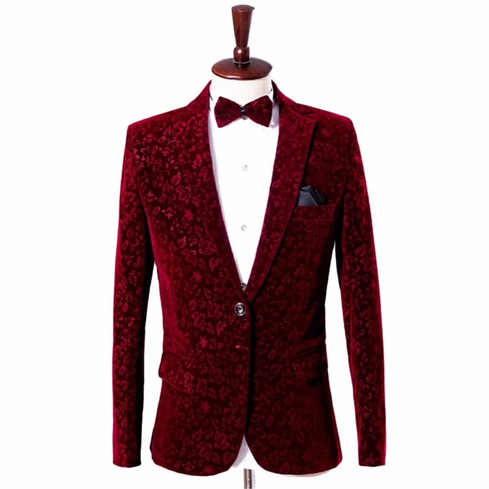 Suit burgundy floral blazer (1)