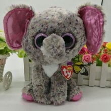 "TY BEANIE BOOS 1PC 25CM 10"" BIG EYE Specks Elephant Plush Toys Stuffed animals KIDS TOYS VALENTINE GIFT soft toys home decor"