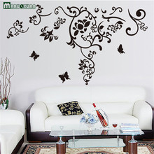 Romantic Fashion Black Flower Vine Butterfly Combination Wall Stickers Factory Direct Sales Living Room Tv Background Stickers(China)