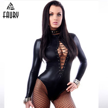 Buy Black Sexy Faux Leather Catsuit Latex Bodysuit Sexy Teddy Lingerie Fetish Wear Erotic Leotard Costumes Women Sexy Costumes