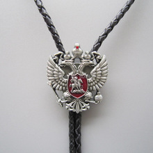 Wholesale Retail Tie Original Russian Double Headed Empire Eagle Rhinestone Bolo Tie Necklace Factory Free Shipping