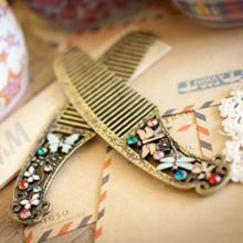Vintage Bronze Glyph Small Comb Fancy Crystle Vivid Dragonfly Butterfly Hair Jewelry Accessories for Women 10 cm