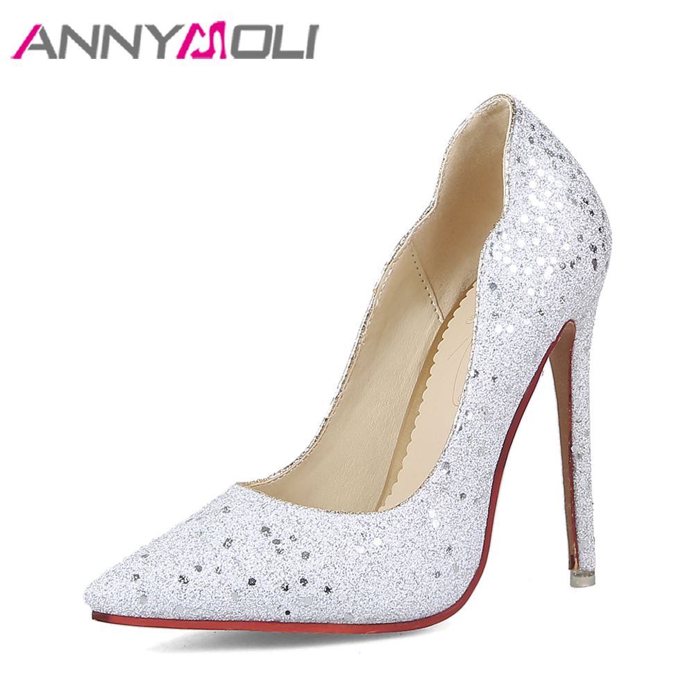 ANNYMOLI Women Pumps Extreme High Heels Glitter Party Shoes Sexy White Bridal Wedding Shoes Spring Stiletto Sliver Size 34-43<br>