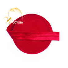 "GOYIBA 5 Yard 5/8"" 1.5cm Poppy Red Solid FOE Foldover Elastics Spandex Satin Kids Hairband Headband Lace Trims DIY Sewing Notion"