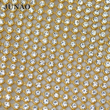 45*120cm Gold Aluminum Mesh Glass Rhinestones Metal Trim Strass Crystal Banding Bridal Beaded Applique Dress Bags Decorations