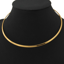 Women Chokers Necklace Torques Necklace Gold/Platinum Plated Chain Necklace 2016 Female Jewelry Gift Wholesale N270
