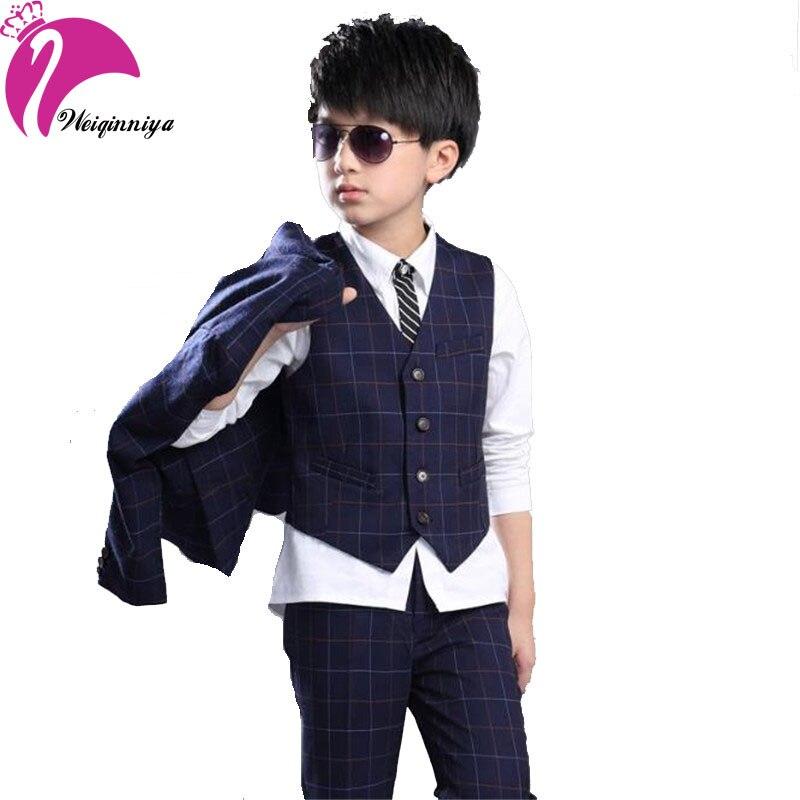 New 2017 Spring Autumn Boy Gentleman Sets Fashion Plaid Blazers Jackets Vest + Pants 3 Pieces Boys Suit Teenagers Kids Clothing<br>