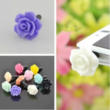 Wholesale 5000pcs Lovely rose Dust plug for iphone dust cap for 3.5mm plug mobile phone free shipping